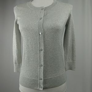 New Talbots 3/4 Sleeve Silver Shimmer Size S Petit